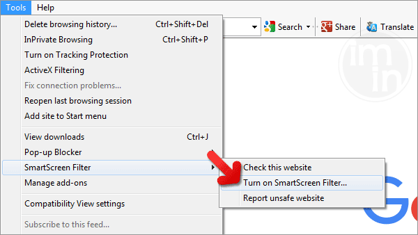 IE SmartScreen Filter