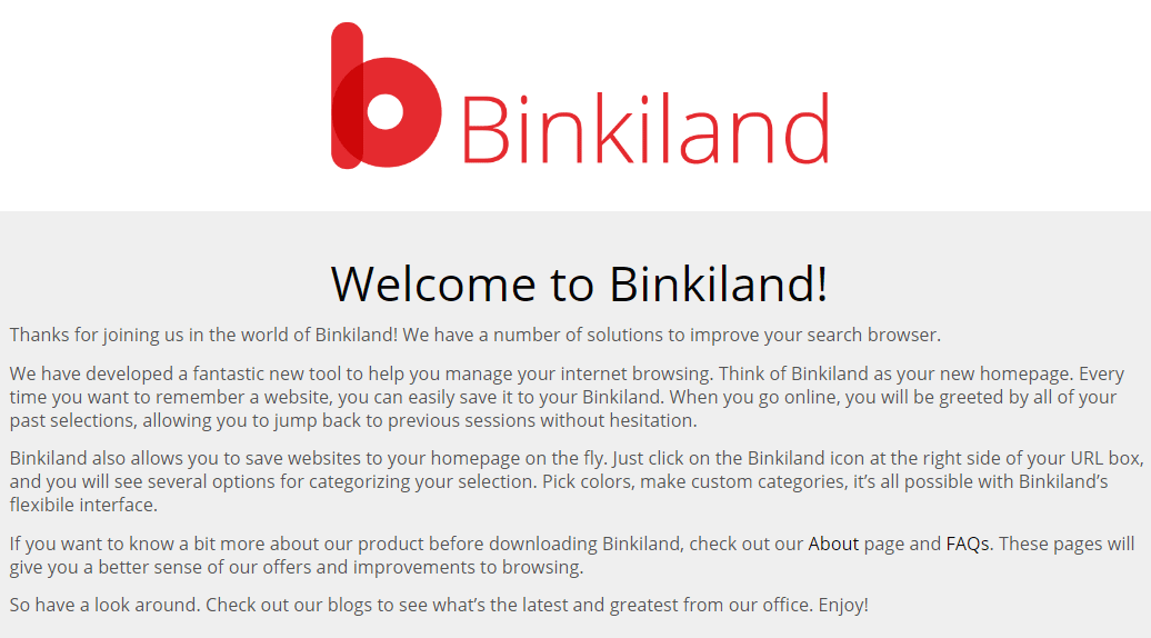 Binkiland Hijacker Removal Guide