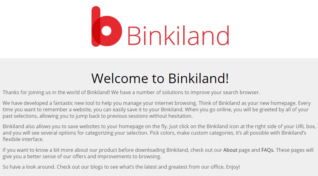 Binkiland Hijacker Removal Guide