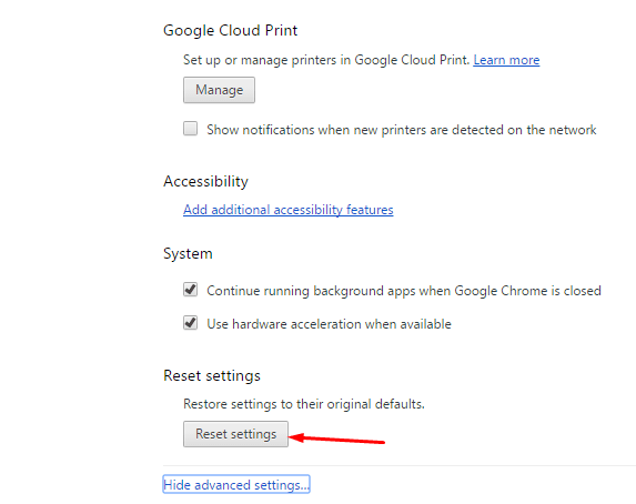Reset Google Chrome 2