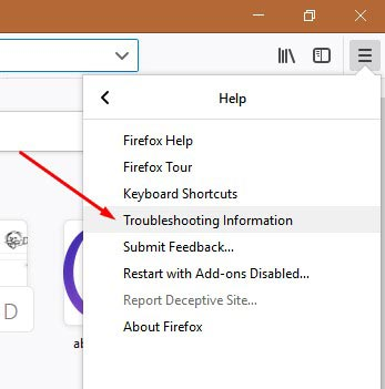 Troubleshooting Information option in Firefox