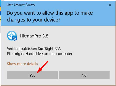 Windows asking for permissions to run the HitmanPro