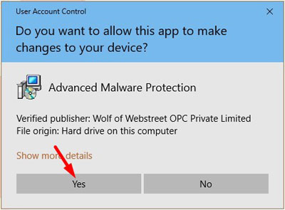 Windows asking for permission to install MalwareFox