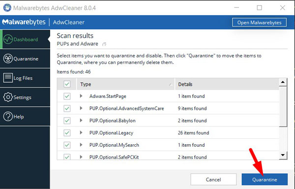 Click Quarantine to remove Mybestsearch.net hijacker