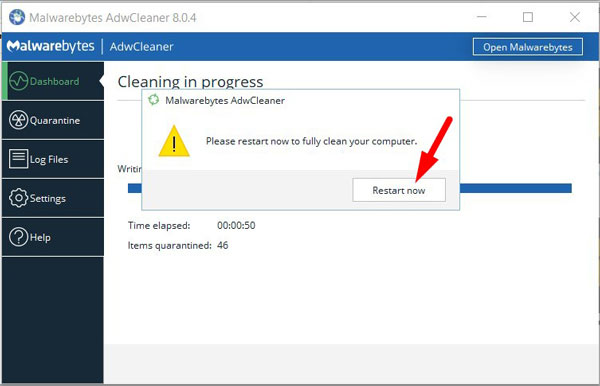 Restart your PC to remove remaining threats