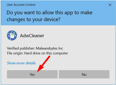 Windows asking for permissions to run the AdwCleaner