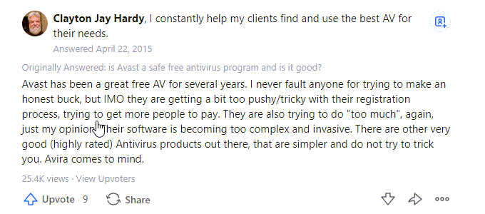 Avast Quora Review