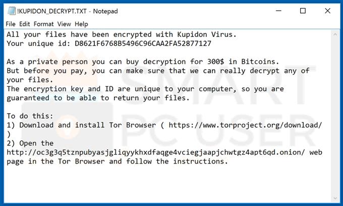 Uninstall Kupidon Ransomware