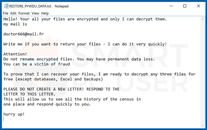 Delete Pywdu Ransomware