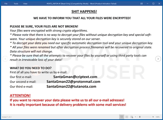 Uninstall SNT2 Ransomware