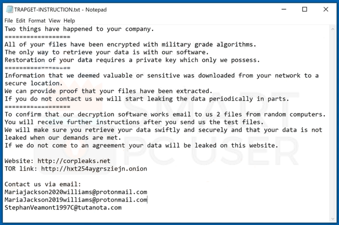 Uninstall TRAPGET Ransomware
